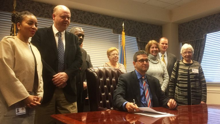 New Castle County Executive Matt Meyer signed his first three ordinances on Monday. (Newsworks/Zoe Read)