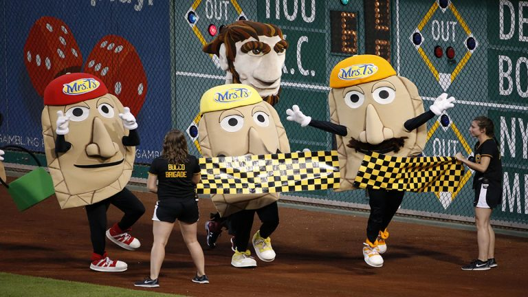 The Pittsburgh Pirates racing pierogis take on the racing presidents of the Washington Nationals between innings of a baseball game between the Pittsburgh Pirates and the Washington Nationals in Pittsburgh, Saturday, July 25, 2015. (AP Photo/Gene J. Puskar)