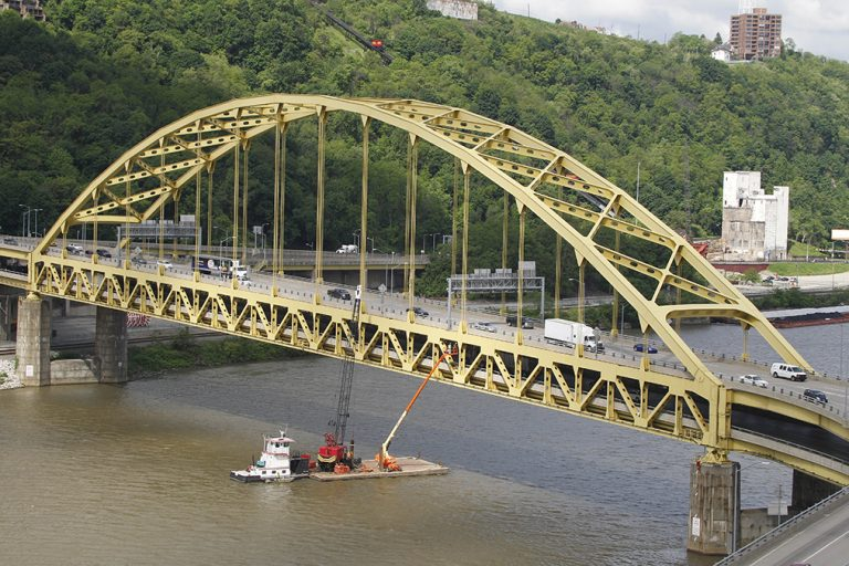 The Ft. Pitt Bridge over the Monongahela River in Pittsburgh. (AP Photo/Keith Srakocic)