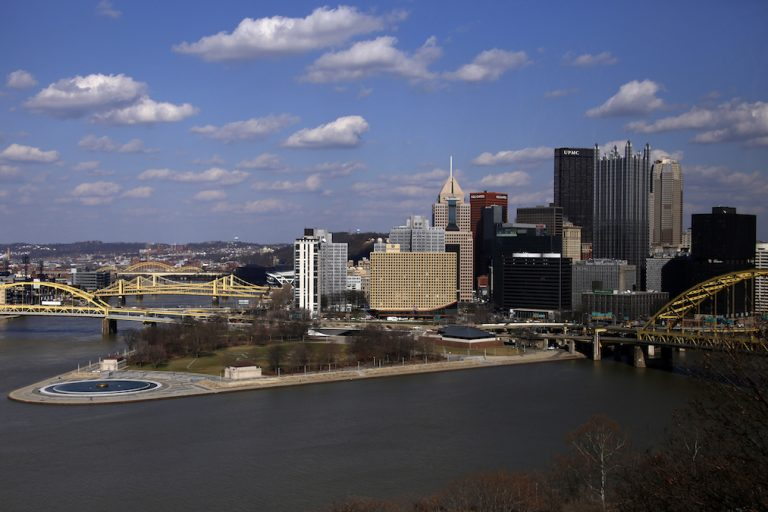 The skyline of downtown Pittsburgh at the confluence of the Allegheny, Monongahela, and Ohio Rivers. (AP Photo/Gene J. Puskar)