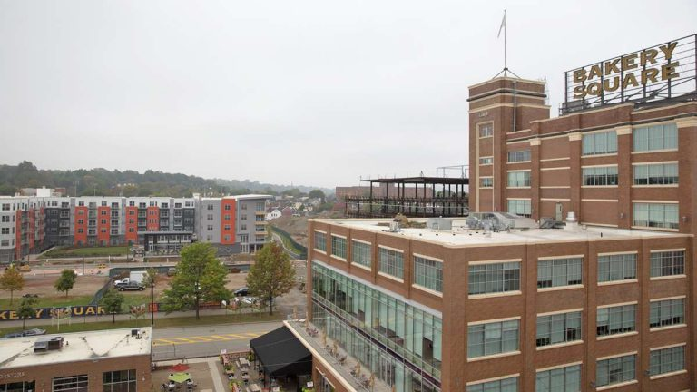Google offices, luxury apartments, and upscale box stores now make up Bakery Square in the East Liberty neighborhood of Pittsburgh. Nabisco once operated there. (Lindsay Lazarski/WHYY)