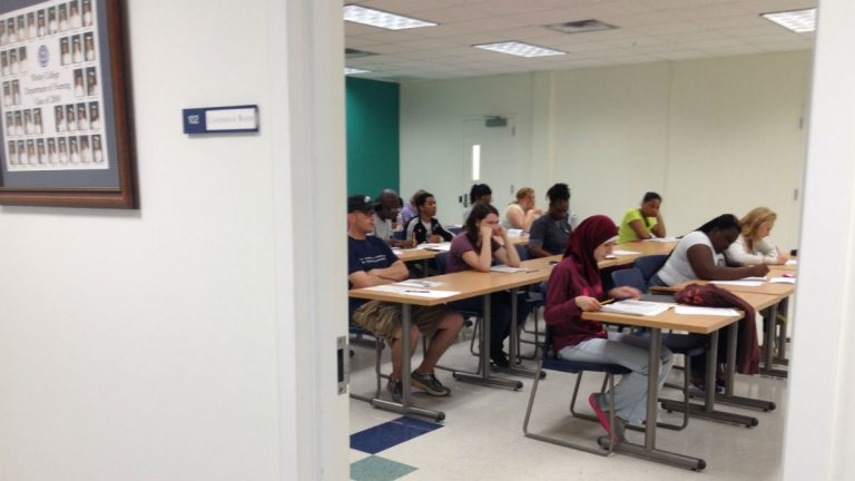 Students take a nursing school placement test at Wesley College (Avi Wolfman-Arent, NewsWorks)