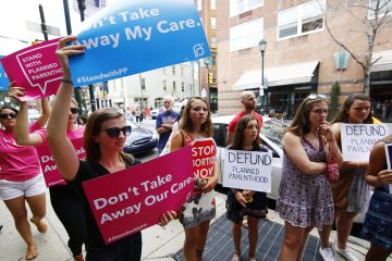 Opponents and supporters of Planned Parenthood are shown demonstrating in Philadelphia in 2015. (AP Photo/Matt Rourke)