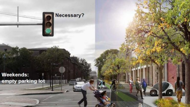 Auto Civitas' vision: With smaller roads, barren parking and driving zones are reinvigorated with green space and wider sidewalks (PlanPhilly Image)