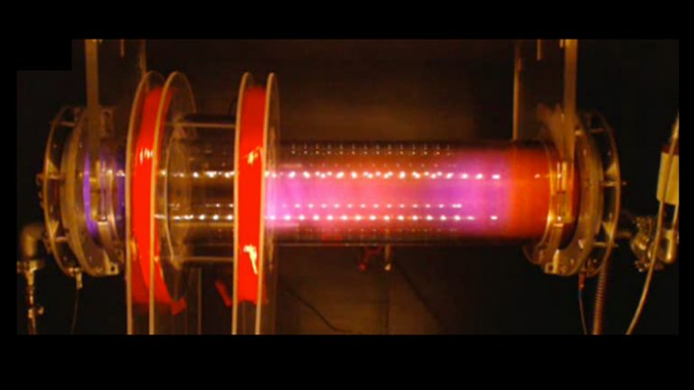 The Remote Glow Discharge Experiment offers students the ability to experiment with plasma through a  live webcam feed of a glass tube filled with air, pictured here (Electronic image via Remote Glow Discharge Experiment)