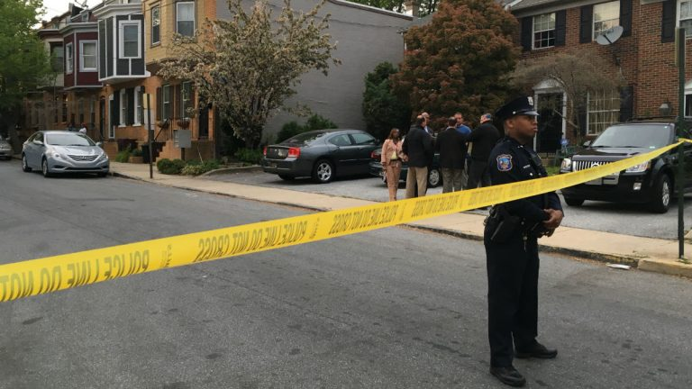 Wilmington Police investigate the scene where an officer shot a 17-year-old Thursday night. (John Jankowski/for NewsWorks)