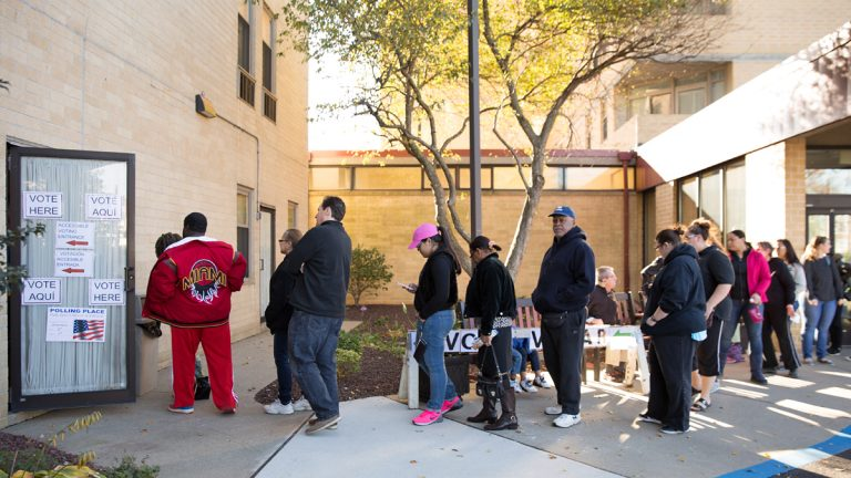 Voters line up outside the B'nai B'rith apartments in Allentown
