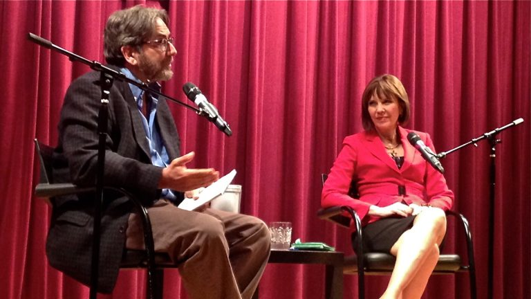 Dick Polman interviews Judith Miller at the Free Library of Philadelphia. (Photo courtesy of Elise Vider)