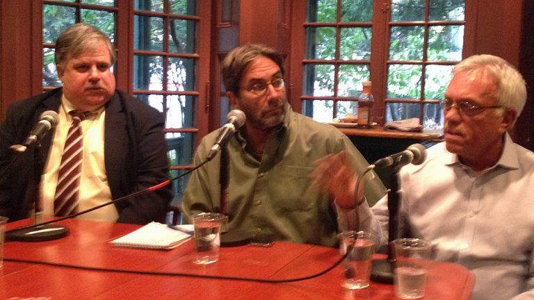 (From left) Philadelphia Inquirer reporter Tom Fitzgerald, NewsWorks political writer Dick Polman, and Philadelphia Daily News columnist John Baer (Photo by Elise Vider)
