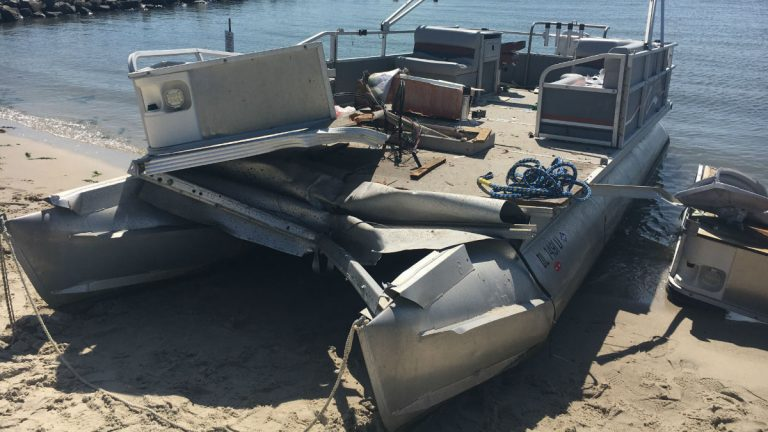 Damage to the pontoon boat involved in Saturday's fatal boating accident. (photo courtesy Delaware Fish & Wildlife Natural Resources Police)