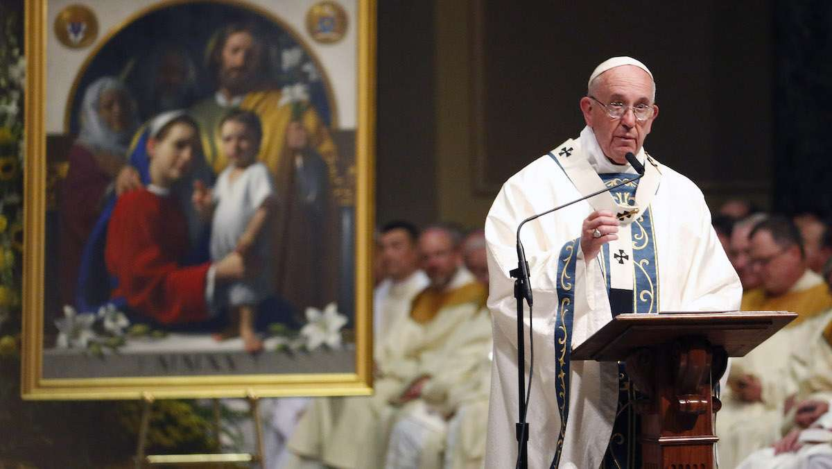 Pope Francis speaks during a Mass at Cathedral Basilica of Sts. Peter and Paul, Saturday, Sept. 26, 2015, in Philadelphia. (Julio Cortez/AP Photo)