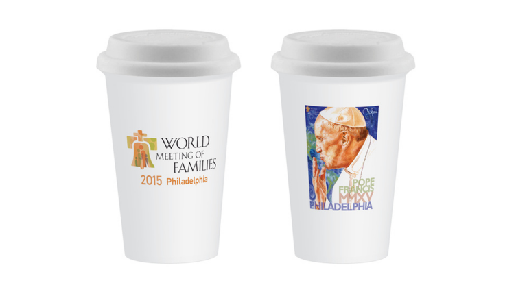 Licensing of the  image adorning merchandise for Pope Francis' visit to Philadelphia is in dispute.  (Image via World Meeting of Families online store)