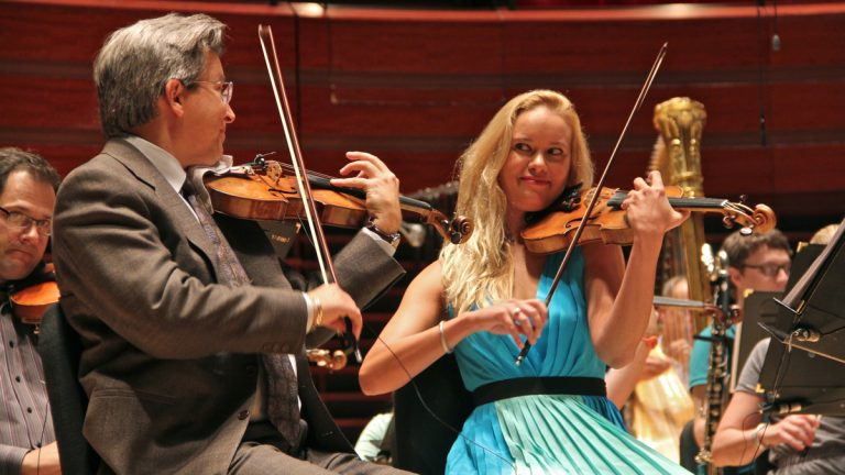 Philly Pops Concertmaster Michael Ludwig will marry first violinist Rachael Mathey during a concert at the Kimmel Center. (Emma Lee/WHYY)