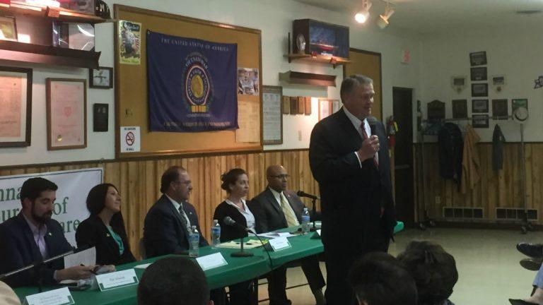 Republican candidate for governor Colin Bonini talks at a Cannabis Bureau of Delaware forum on legalizing marijuana. (Zoe Read/WHYY)