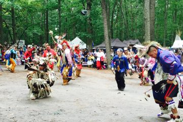 Members of the Nanticoke tribe dance at the 38th annual Pow Wow. (Paul Parmelee/WHYY)
