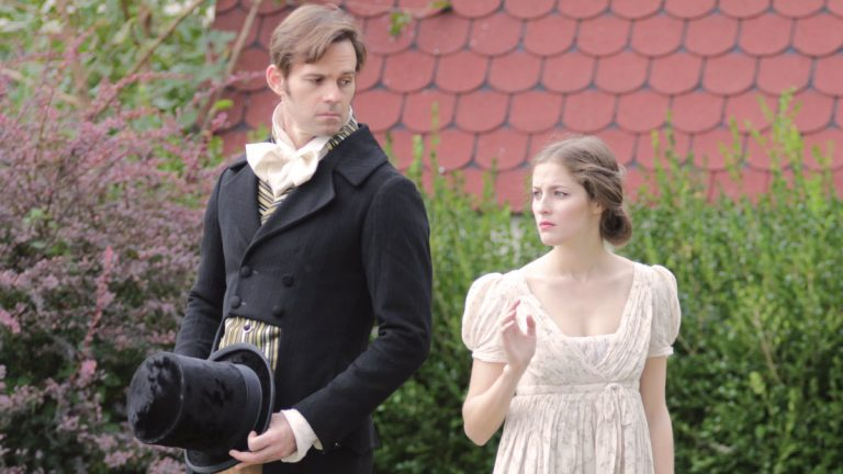 Michael Halling as Mr. Darcy and Hannah Kahn as Elizabeth Bennet in Bristol Riverside Theatre's production of