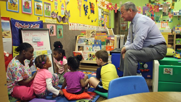 Mayor Jim Kenney visits with children at Little Learners Literacy Academy in South Philadelphia. (Emma Lee/WHYY)