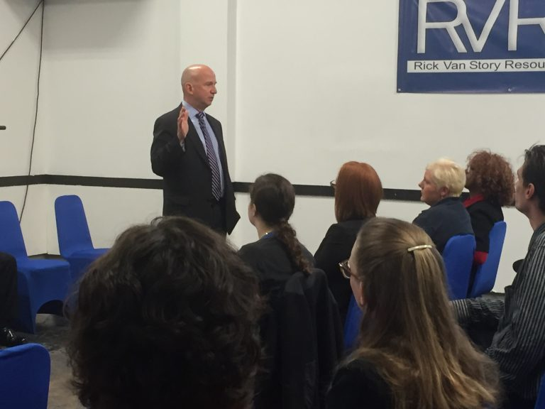 Gov. Markell talks at Wilmington's Rick VanStory Resource Center about the state's efforts to improve outcomes for defendants during the pre-trial period. (Zoe Read/WHYY)