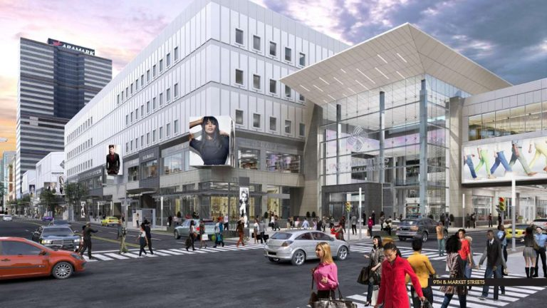 A rendering of the redevelopment of the Gallery shopping mall rebranded as the Fashion Outlets of Philadelphia at Market East.  (Image provided by Pennsylvania Real Estate Investment Trust)