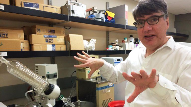 Professor Simon Friedman of the University of Missouri-Kansas City school of pharmacy is developing an alternate method of delivery insulin. (Alex Smith/for WHYY)