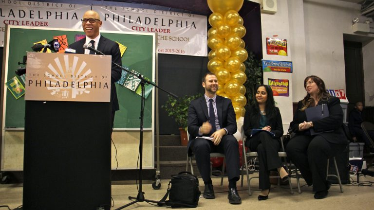 School District of Philadelphia Superintendent William Hite praises principals who earned high scores in a district evaluation in this file photo from 2017. (WHYY staff)
