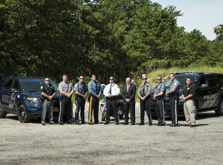 Ocean County Prosecutor Joseph D. Coronato (center right) with the Route 539 safety and enforcement law enforcement partners. (Image courtesy of the Ocean County Prosecutor's Office)