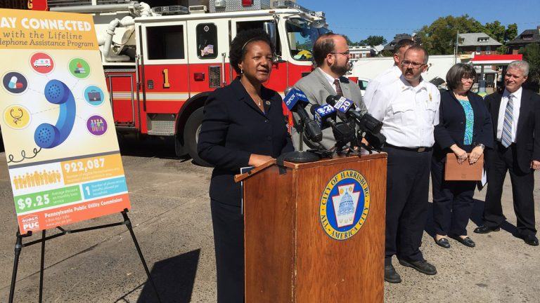 Gladys Brown, chairwoman of Pennsylvania's Public Utility Commission, says the state wants to make sure all residents eligible for the discounted phone service are aware of it. (Mary Wilson/WHYY)