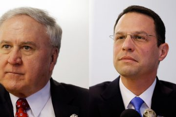 Pennsylvania state Sen. John Rafferty (left) and Montgomery County Commissioner Josh Shapiro  (AP Photo/Matt Rourke