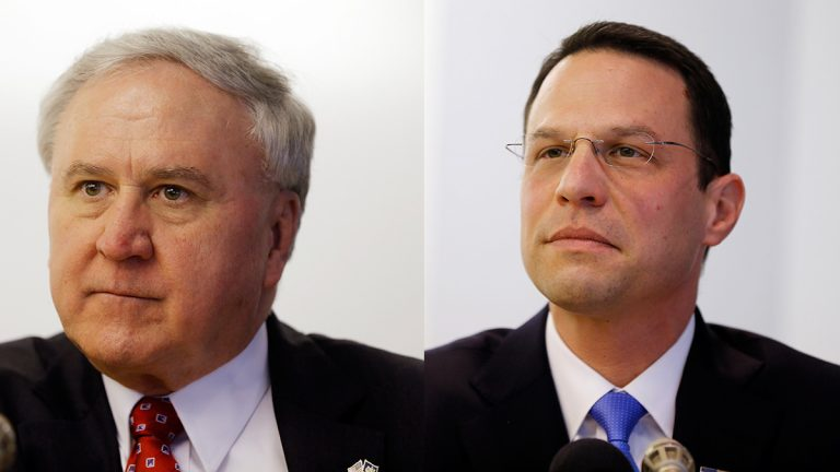 Pennsylvania state Sen. John Rafferty (left) and Montgomery County Commissioner Josh Shapiro  (AP Photo/Matt Rourke