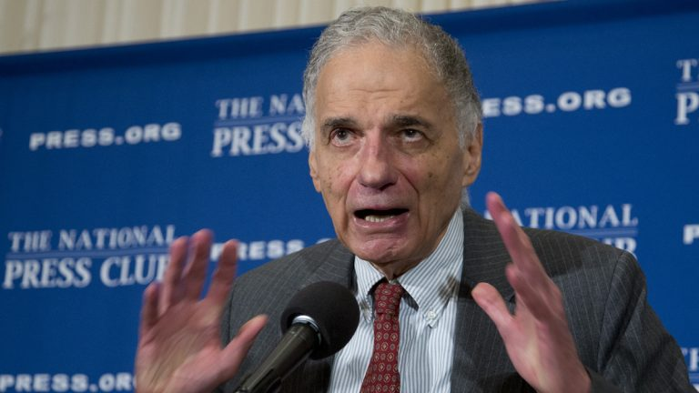 Consumer advocate Ralph Nader is shown speaking at the National Press Club in 2014. (AP Photo/Manuel Balce Ceneta, file)