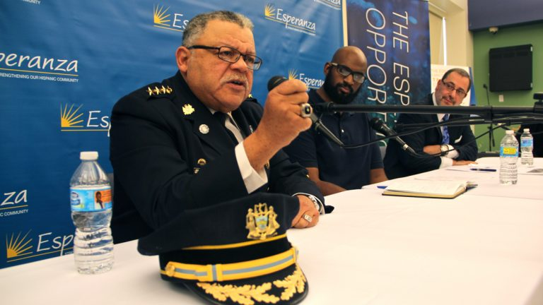 Philadelphia Police Commissioner Charles Ramsey (left) speaks at a panel discussion with (from left) Baltimore Pastor Joshua Smith and Esperanza President and CEO the Rev. Luis Cortes. (Emma Lee/WHYY)