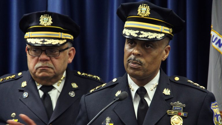 From left: former Police Commissioner Charles Ramsey and new Commissioner Richard Ross are shown in December 2015. (Emma Lee/WHYY)