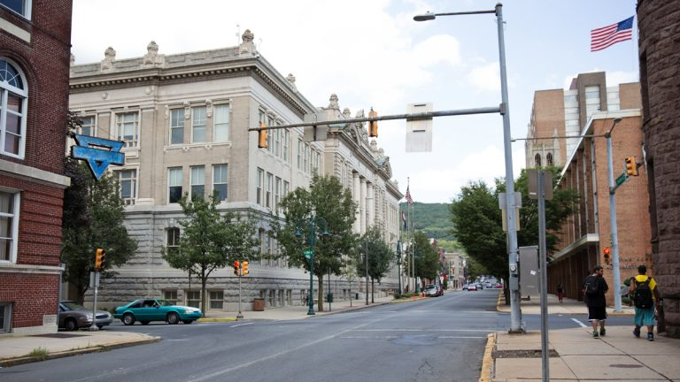 In July, federal agents searched city halls in Allentown and Reading (pictured) questioning officials and hauling documents.  (Lindsay Lazarski/WHYY)