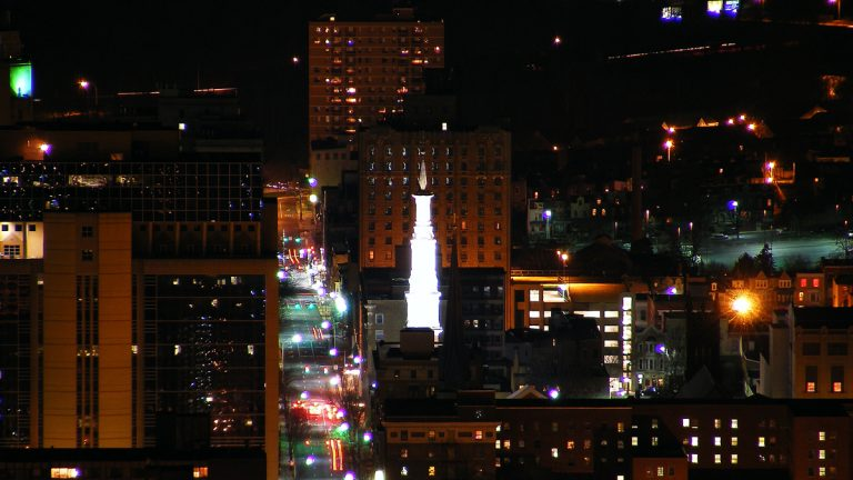 Bird's eye view at night of Reading, Pennsylvania. (<a href=