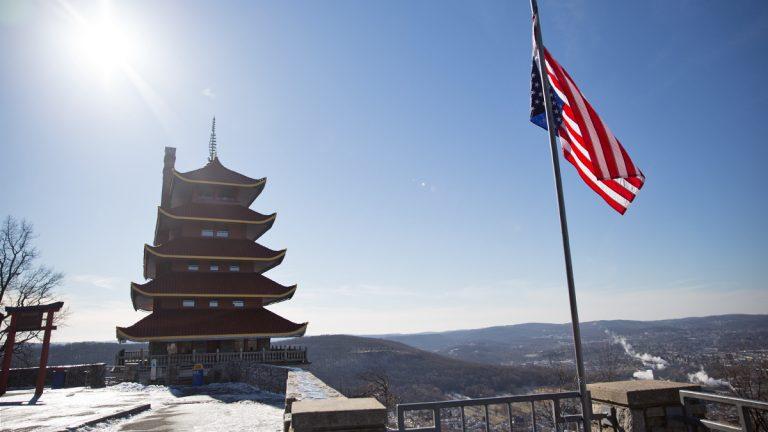 Readings' famous landmark, Pagoda, from Mount Penn on a wintery January morning.  (Lindsay Lazarski/WHYY)