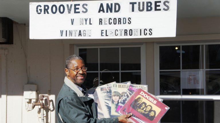 Owner Gerald Young at his Grooves and Tubes shop in Centerville. (Photo by Jane McCuen)