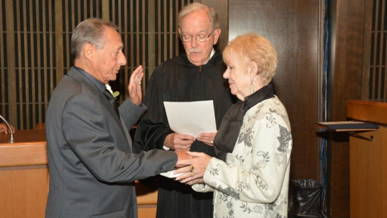 County Councilman Joseph Reda takes the oath of office in Wilmington. Reda died early Thursday morning. (photo courtesy NCCo)