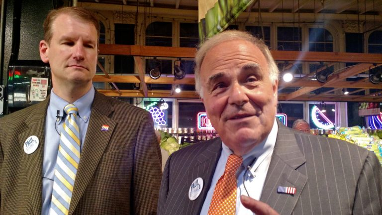 Ed Rendell,  former governor of Pennsylvania and former mayor of Philadelphia, endorses Paul Steinke, left, for an at-large Council seat at Reading Terminal Market, where Steinke was general manager for 13 years.  (Katie Colaneri/WHYY)