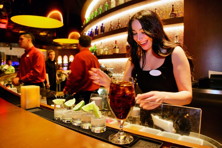 Morgan, a Revel Ultra Lounge bartender prepares drinks. (Bas Slabbers/for NewsWorks