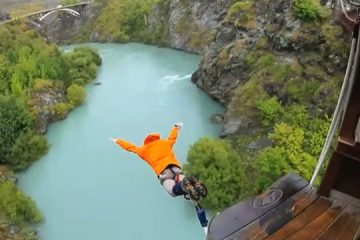 """Richard Alley bungee jumps in an episode of  the PBS miniseries, """"Earth: The Operators' Manual on PBS."""""""