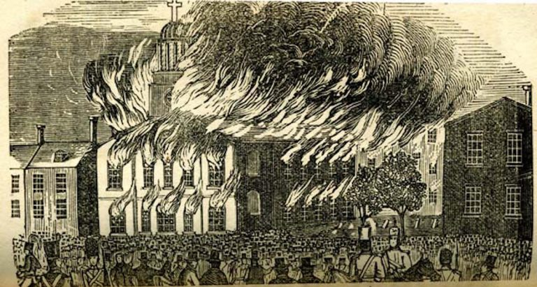 Burning of St. Augustine Church during the Philadelphia Nativist Riots in 1844. (Wikimedia Commons)