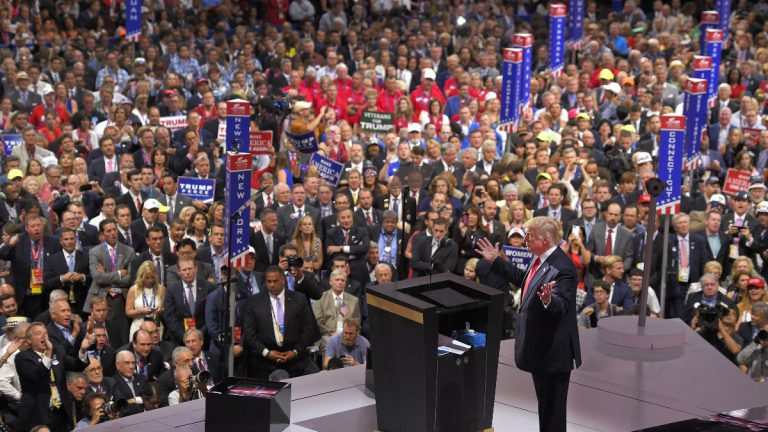 Republican Presidential Candidate Donald Trump speaks during the final day of the Republican National Convention in Cleveland