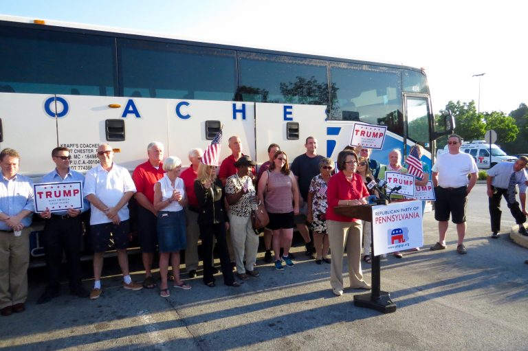 Republicans speak at rally in Exton Sunday before delegates board bus to Cleveland for Republican National Convention (Rob Zawatski)