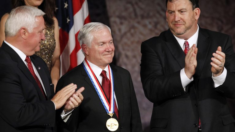 Former Secretary of Defense Robert Gates is shown receiving the Liberty Medal during a ceremony at the National Constitution Center in Philadelphia in 2011. (AP Photo/Alex Brandon