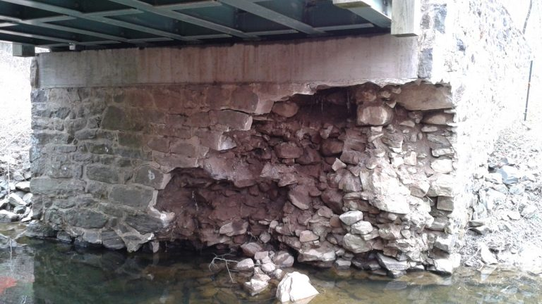 The crumbling underpinning of the bridge has forced park leaders to close it. (photo courtesy DNREC)
