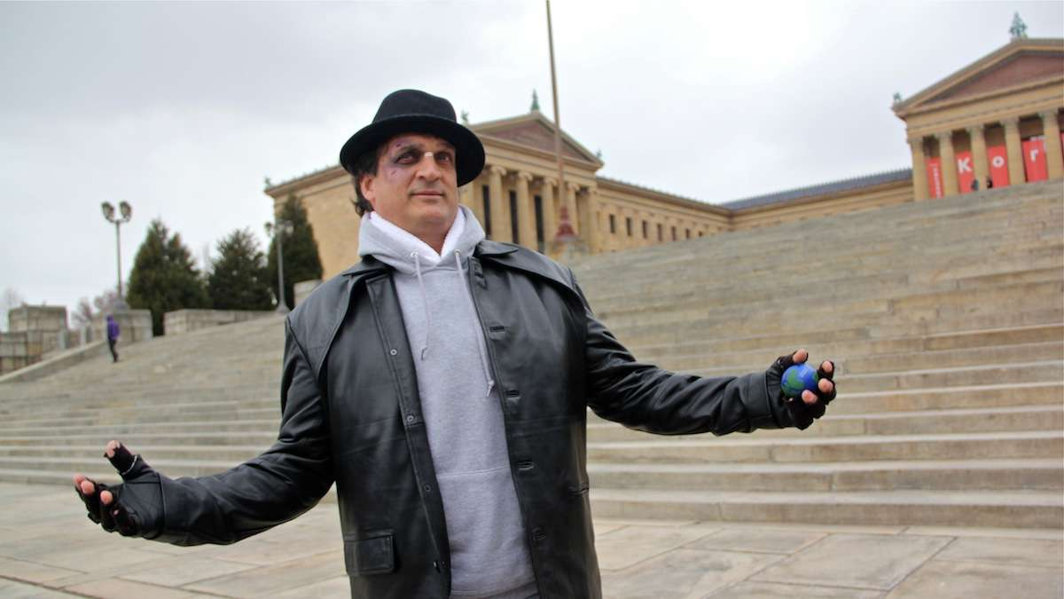 Rocky impersonator and actor John Monforto in character.  (Emma Lee/for NewsWorks)