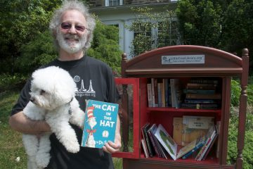 Ron Kanter set up a Little Free Library book share on his lawn to give kids easy access to books. (Greta Iverson/for NewsWorks)