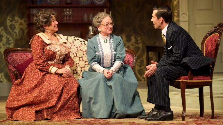Mary Martello (left), Jane Ridley and Damon Bonetti in Walnut Street Theatre's production of