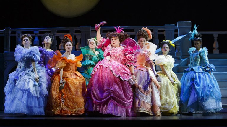 The cast of 'Rodgers , Hammerstein's Cinderella,' in its national tour at the Academy of Music. (Photo courtesy of Carol Rosegg)