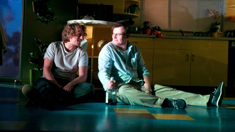 Brian Osborne (left) and Jeb Kreager in Theatre Exile's production of